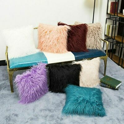 Faux Fur Deluxe Soft Plush Mongolian Throw Pillow Cover Cozy Cushion Home Decor