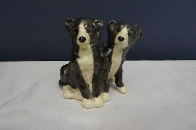 pottery heredities dog figure border collie puppies