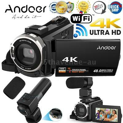 WiFi 4K Ultra HD 48MP Touchscreen Digital Video Camcorder Camera DV + Microphone