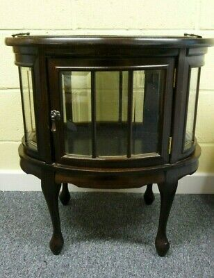 Unusual Edwardian Mahogany & Glass Oval Display/ Drinks Cabinet & Butlers Tray