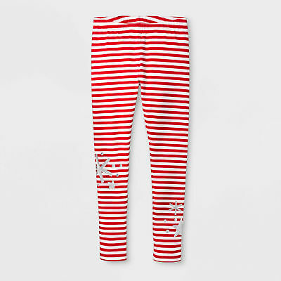 Girls Snowflakes Striped Christmas - Holiday Leggings  Cat & Jack Size S 6/6X