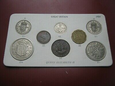 UK British 1954 Elizabeth II 8 Coin Collection Set: Farthing ~ Half-Crown carded