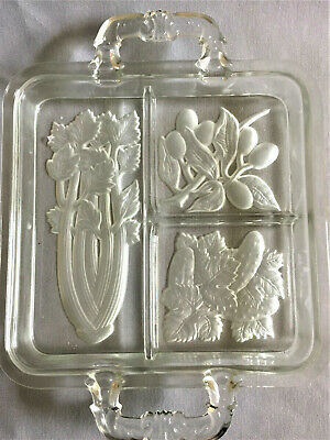 Vintage Cut Glass Vegetable Serving Dish with Dividers and Handles
