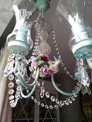 (Pair) 2 x Shabby Chic/Vintage Crystal Chandeliers, Ceramic Flowers/Floral/Birds