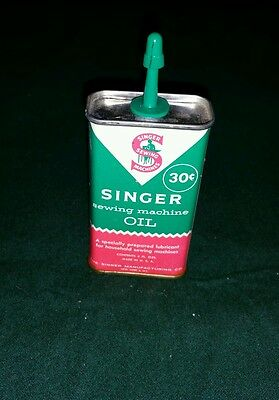 Vintage SINGER Sewing Machine Oil Tin Can - Approx 3 of 4 Ounces Left FREE SHIP