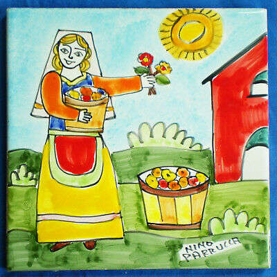 "Vintage Hand Painted ITALIAN NINO PARRUCCA TILE Trivet Girl Picking Flowers 6""Sq"