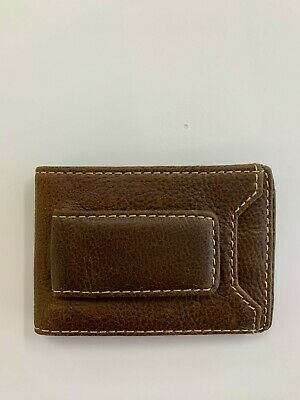 IVAR ID BIFOLD Money Clip Wallet-Full Grain Leather-Magnetic Front brown HOJ Co