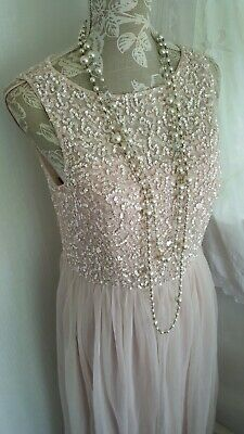 Vtg 1920,s style Gatsby pastel pink pearl sequin wedding prom dress size 12 uk