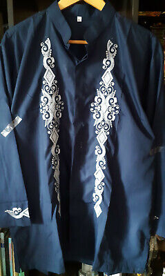 Men's XL Arab Embroidery Modern Batik style shirt ~ Polyester Long sleeve