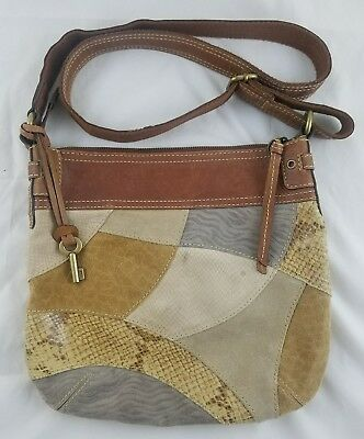 a5f7a06f163 Fossil Multi Suede/Leather Snake Patchwork Shoulder Crossbody Bag Purse Tote (BA)