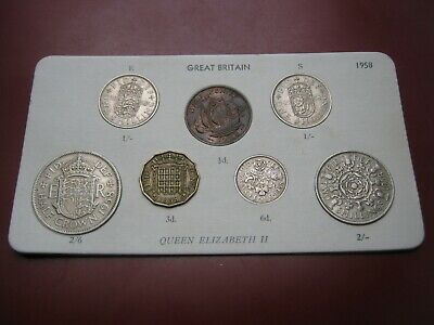 UK British 1958 Elizabeth II Coin Collection Set: Half-Penny ~ Half-Crown carded