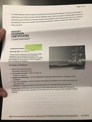 Resort Vacation Certificate- Free 7 Night Stay At Wyndham- Retails For $599