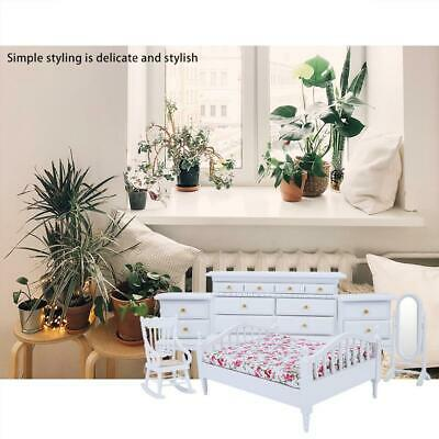 1:12 Scale 6pcs Mini Cute Wooden White Bedroom Furniture Set for Dollhouse