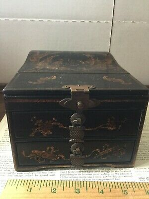 CHARLIE LAPSON JEWELRY /MAKEUP BOX inspired by Victorian Japanned Papier Mache'