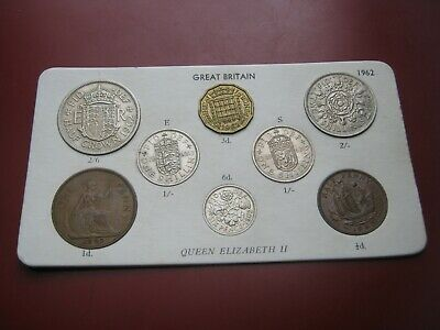 UK British 1962 Elizabeth II Coin Collection Set: Half-Penny ~ Half-Crown carded