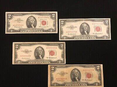 1953a/63 $2 RED SEAL Legal Tender UNITED STATES NOTE Paper Money 4 piece lot A56