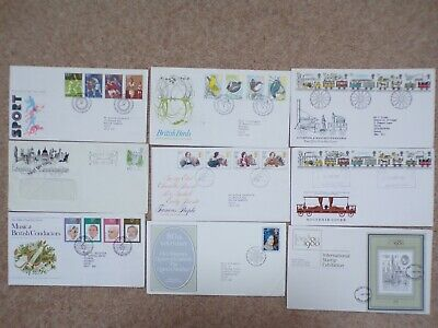 COLLECTION OF 9 BRITISH GB FIRST DAY COVERS FDCs - 1980