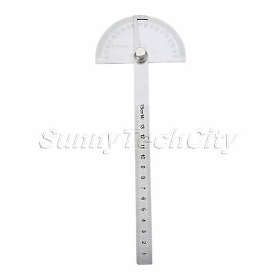 Stainless Steel Protractor Round Head Rotary Angle Rule Finder Arm Ruler 0-180°