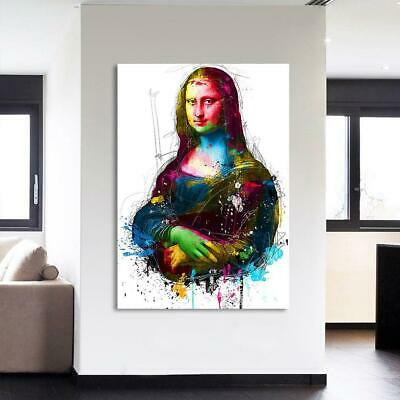 Colorful Mona Lisa Modern Abstract Framed 1 Panel Piece Canvas Wall Art Painting