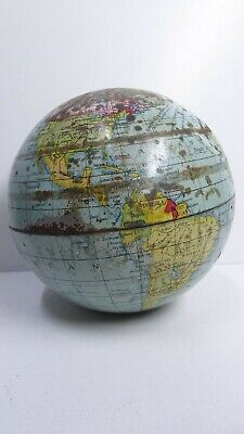Antique Metal World Globe - No Stand