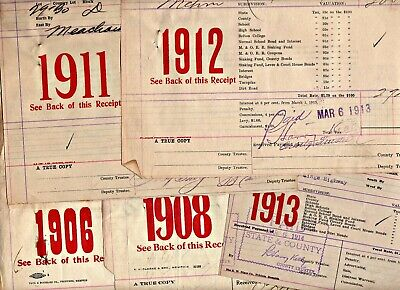 Memphis & Shelby County Tax Bills: 1906-1913 (5 different yaars)