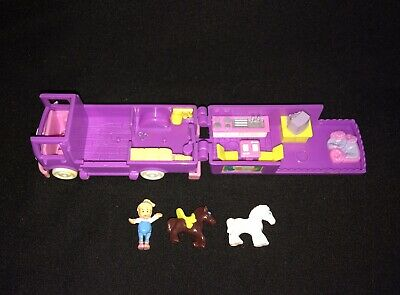 Vtg Polly Pocket Bluebird 1994 Stable On The Go Horse Riding Doll & RV Complete