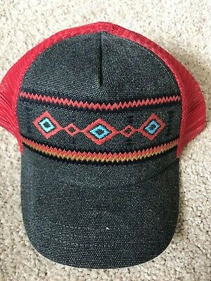 BNWOT Next Peaked Baseball Cap. Unisex. Age 0-3 Months. Red / Grey / Pattern