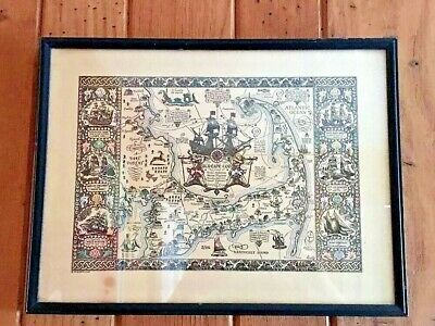 1930 The Map of Old Cape Cod Coulton Waugh Pictorial Original Print Hand Colored
