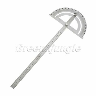 Stainless Steel Protractor Round Head Rotary Angle Rule Finder Arm Ruler 350mm