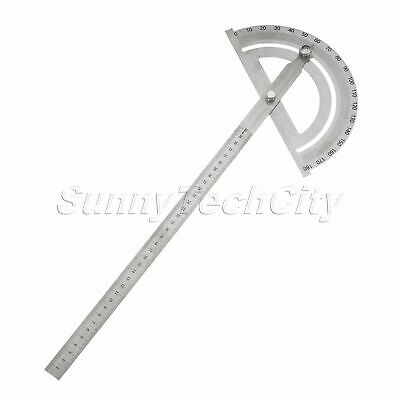 Stainless Steel 180° Protractor Round Head Rotary Angle Rule Finder Arm Ruler
