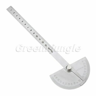 0-180 Degree Protractor Arm Stainless Steel Ruler Angle Finder Gauge Silver 15cm