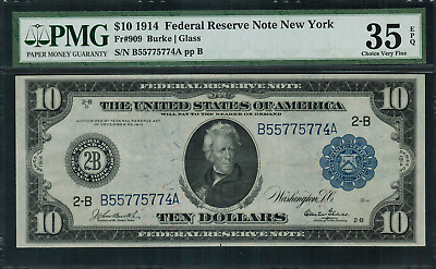 1914 $10 Federal Reserve Note New York FR-909 - Graded PMG 35 EPQ Choice VF