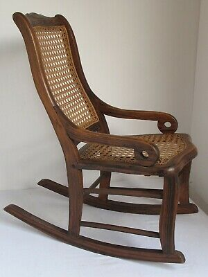 Antique Child's Lincoln Rocking Chair Cane Seat and Back