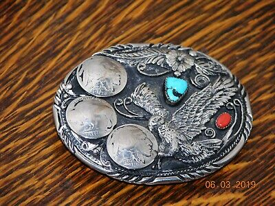 Indian theme Vintage Belt Buckle handcrafted in USA
