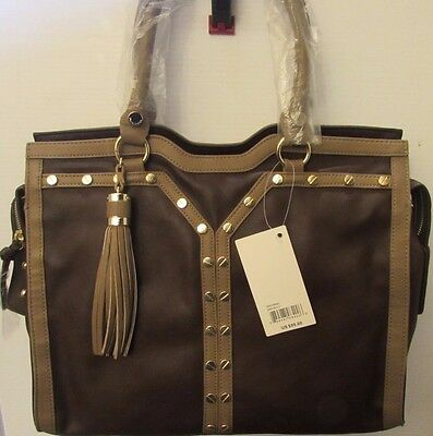 Big Buddha Women's Paige Tote Shopper Handbag Shoulder Brown/Taupe NWT