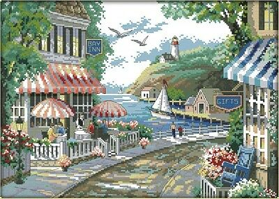 The Seaside Cafe. 14CT PRINTED cross stitch kit. Craft brand new.