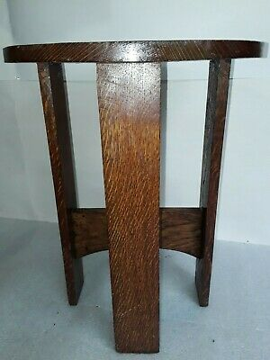 vtg mission oak Arts & Crafts Plant Stand antique lamp table.  Arched stretchers