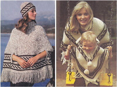 KNITTING PATTERN LADIES Easy Knit Fringed Poncho Wrap &Hat