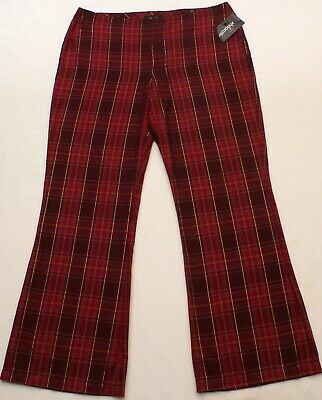 Xhilaration Womens Pink Plaid Gold Striped Pants, Bootcut, Juniors Sz 15, NEW