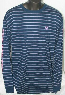 Vans Men's Long Sleeves Off The Wall Logo 100% Cotton FREE SHIP Blue/Pink Stripe