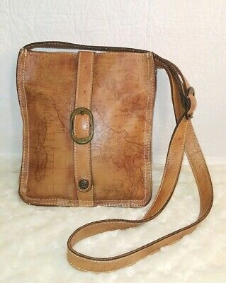 PATRICIA NASH  Brown Leather Crossbody Shoulder Bag Map Design