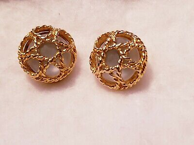 bc721284f PAOLO GUCCI FROSTED BUTTON Clip on gold Caged earrings ELEGANT CLASSY  Vintage