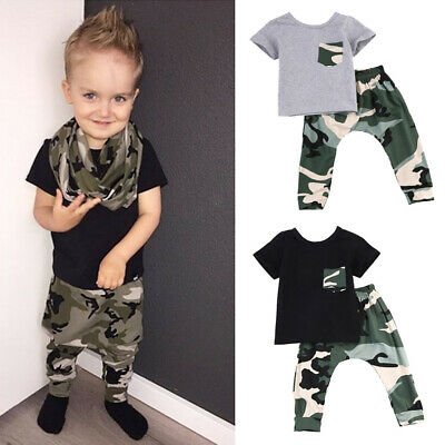 Hot Newborn Baby Boy Infants Cotton T-shirt + Trousers Playsuits Outfits Clothes