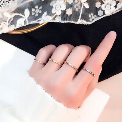 2mm Thin Stackable Ring Stainless Steel Plain Band Women Girl Tail Ring Sz 5-10
