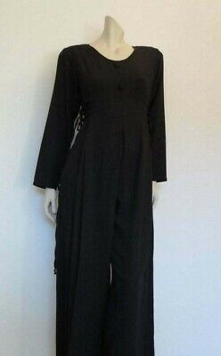 Original Vintage Black Jumpsuit With Side Lacing and Pleats - 1980s - Bust 86-91