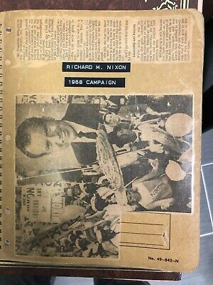 Vintage 1968 President Nixon Campaign Newspaper & Magazine Scrap Book Awesome