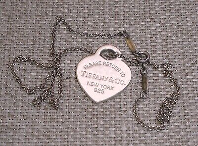 Vintage Necklace Sterling Silver 925 Please Return to TIFFANY & Co Signed 335w