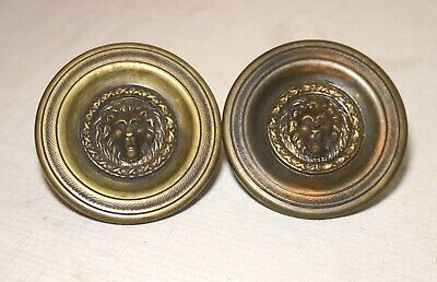 LARGE pair 2 brass circular curtain lion tiebacks rod holders hardware bronze
