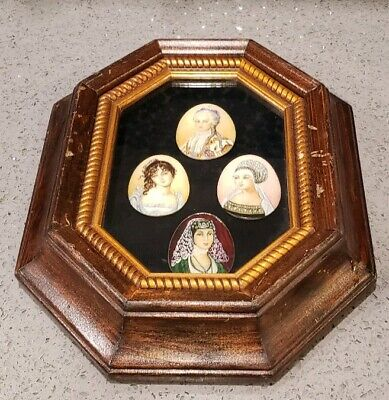 Vintage Hand Painted Woman on Shell Art Deco in Frame