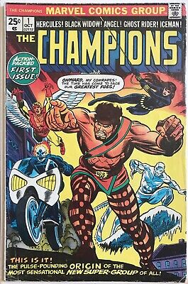 The CHAMPIONS comics #1 Bronze Age MARVEL Ghost Rider BLACK WIDOW Angel